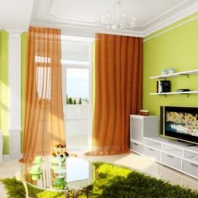 Rideaux bruns dans un petit salon