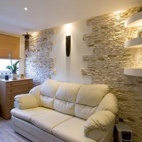 décor en pierre des murs du salon
