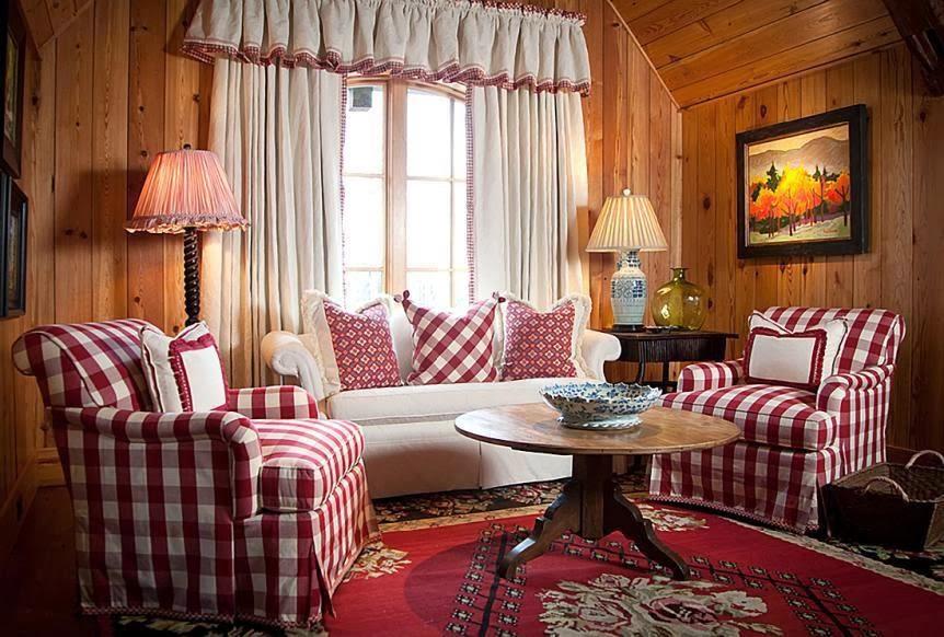 Housses de meubles de pays à carreaux