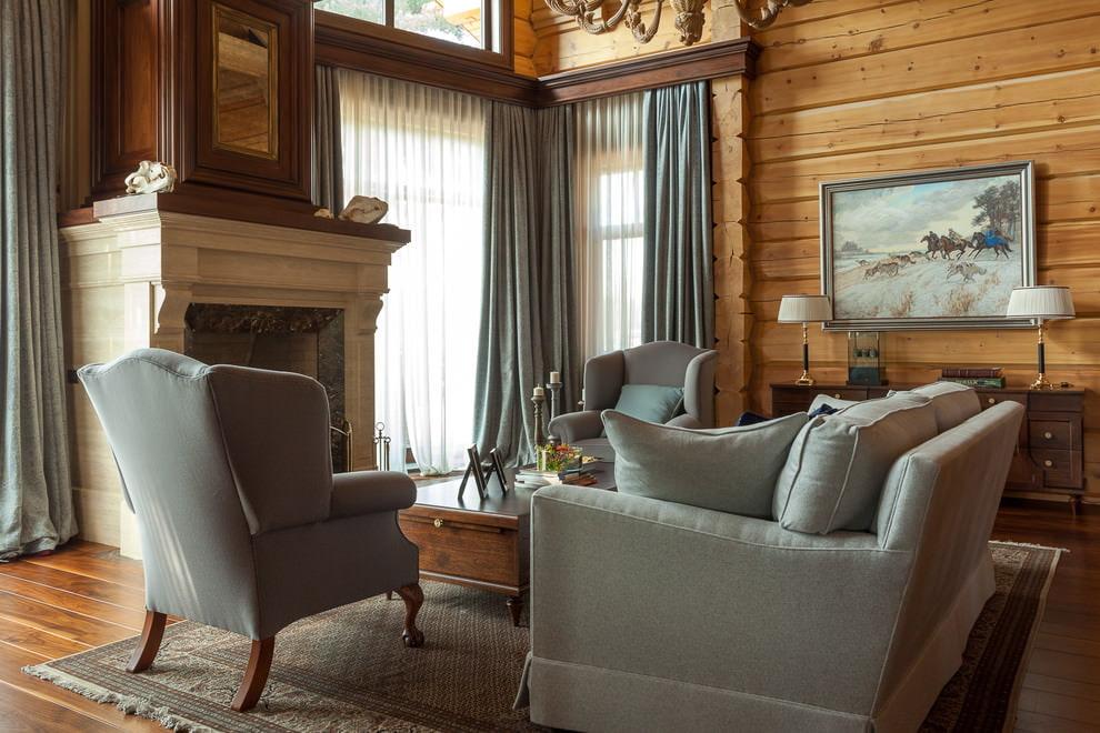 Intérieur de salon classique avec cheminée