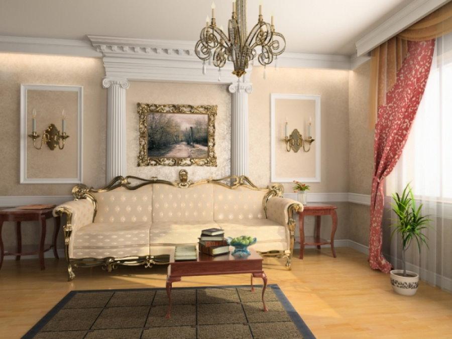 Demi-colonnes sur le mur du salon dans un style classique
