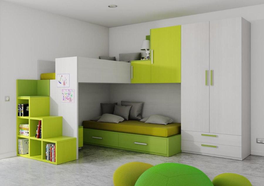 Un ensemble de mobilier modulable dans une pépinière moderne