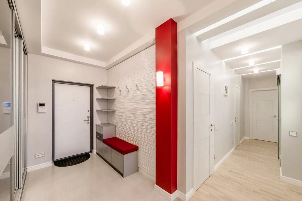 Linoléum au sol d'un couloir blanc