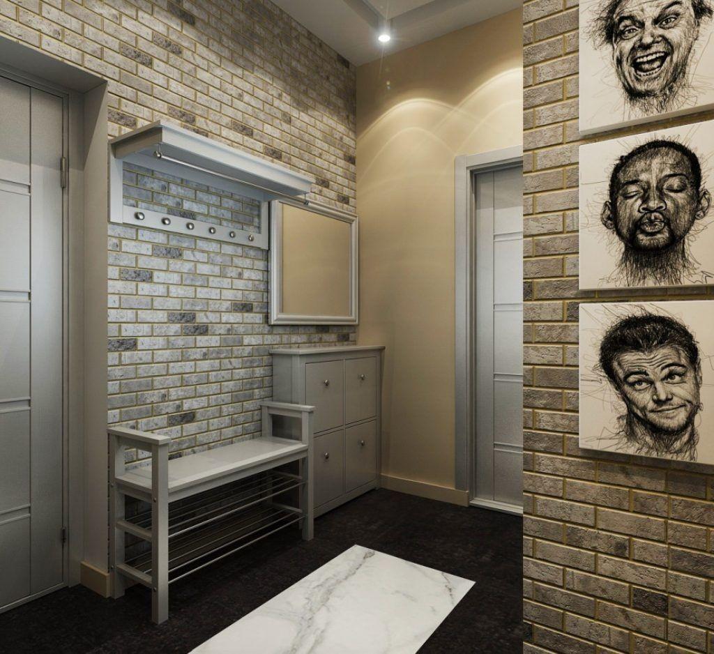 Papier peint en brique à l'intérieur du couloir du loft