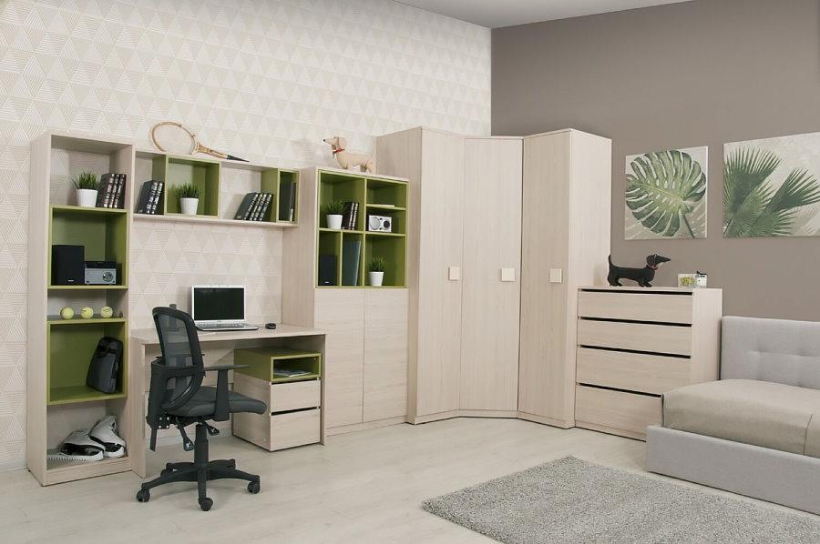 Armoire d'angle dans un ensemble de meubles pour enfants