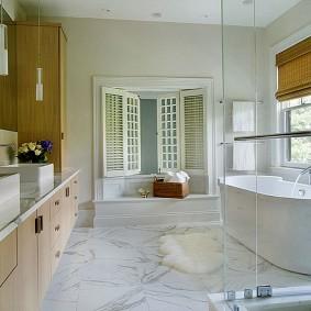 sol de salle de bain en marbre