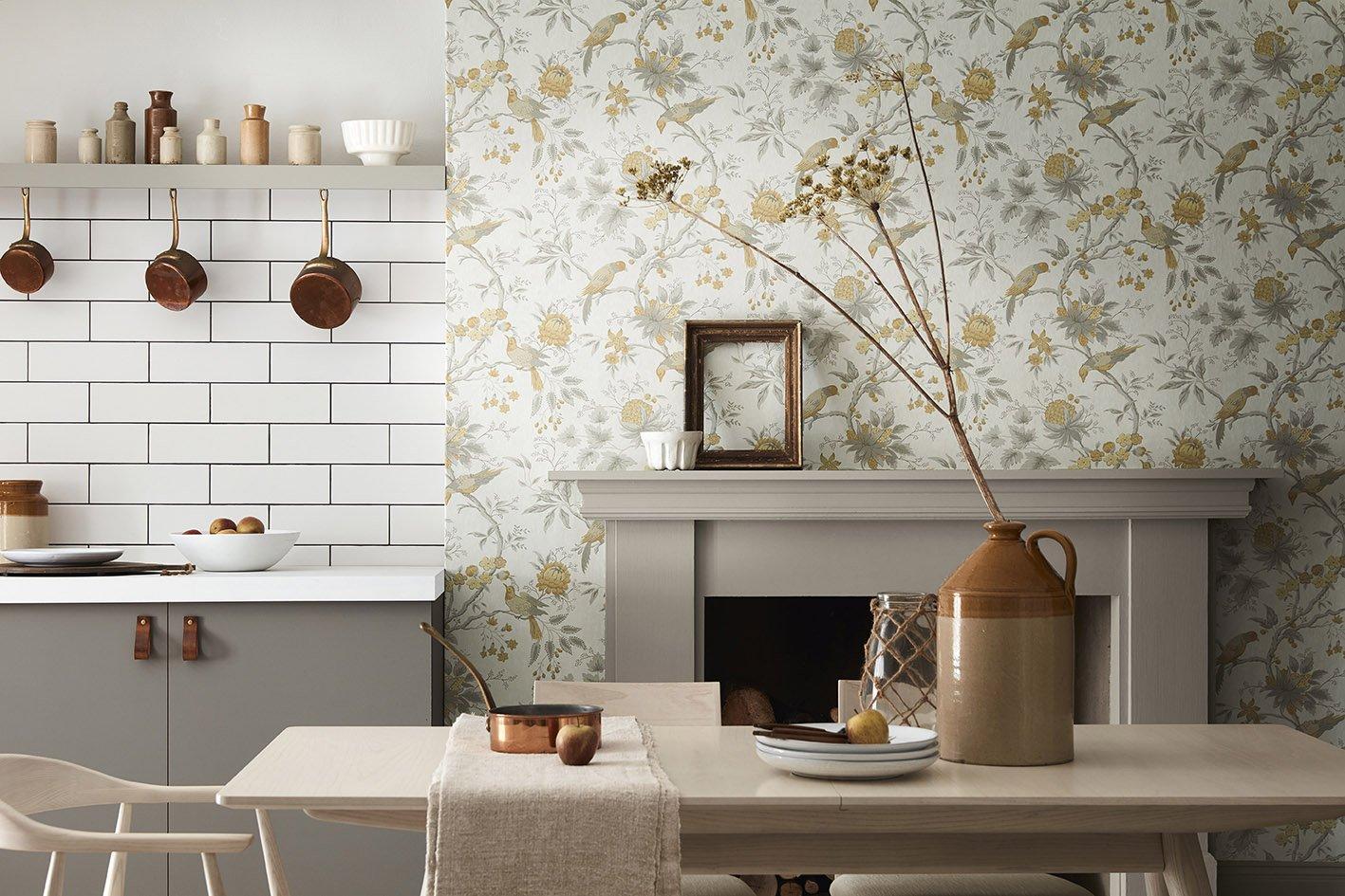papier peint fleuri pour la cuisine