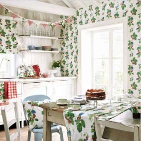 papier peint pour un petit décor de cuisine