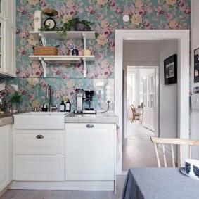 papier peint pour un petit intérieur photo de cuisine