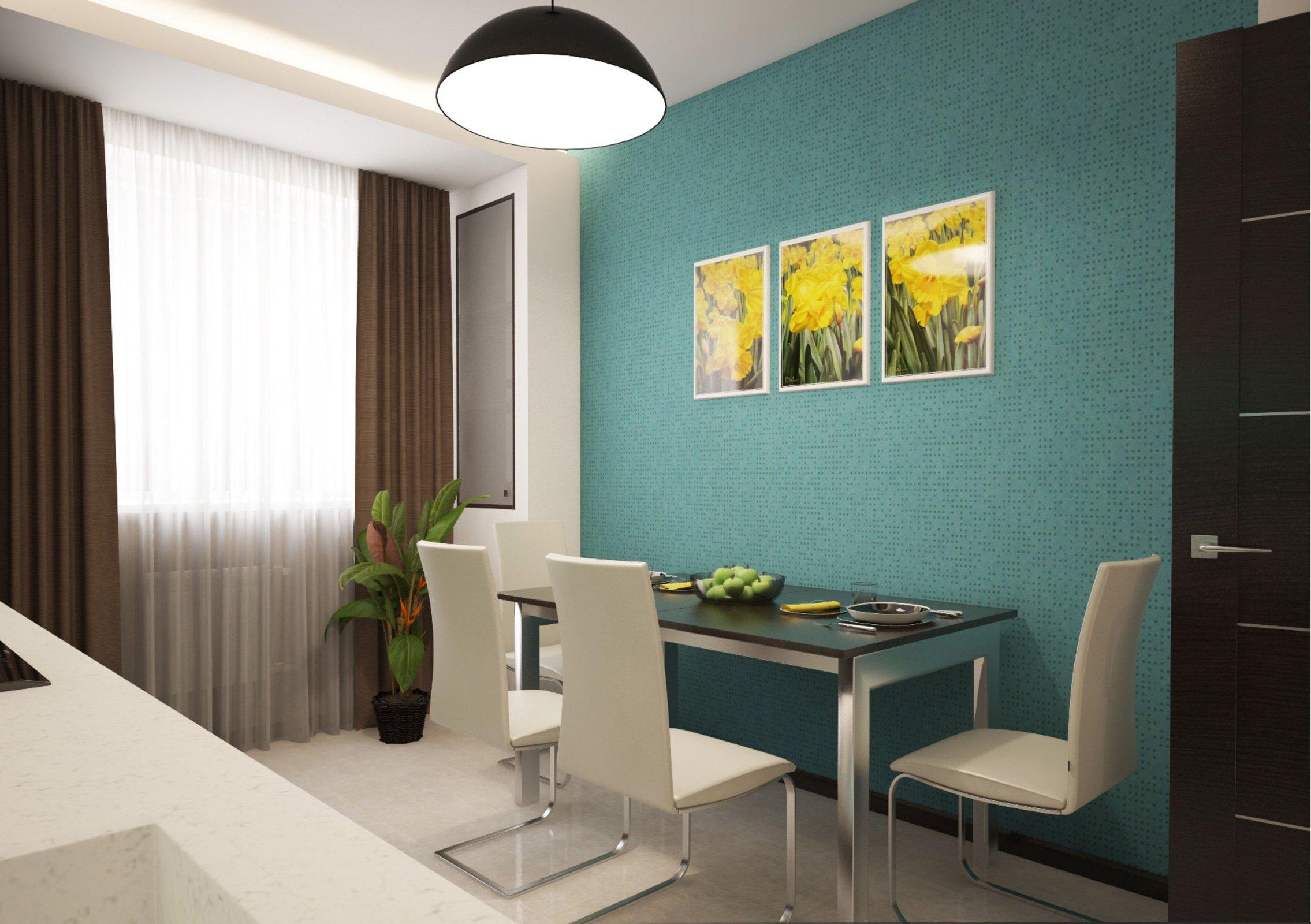 papier peint turquoise sur une petite cuisine
