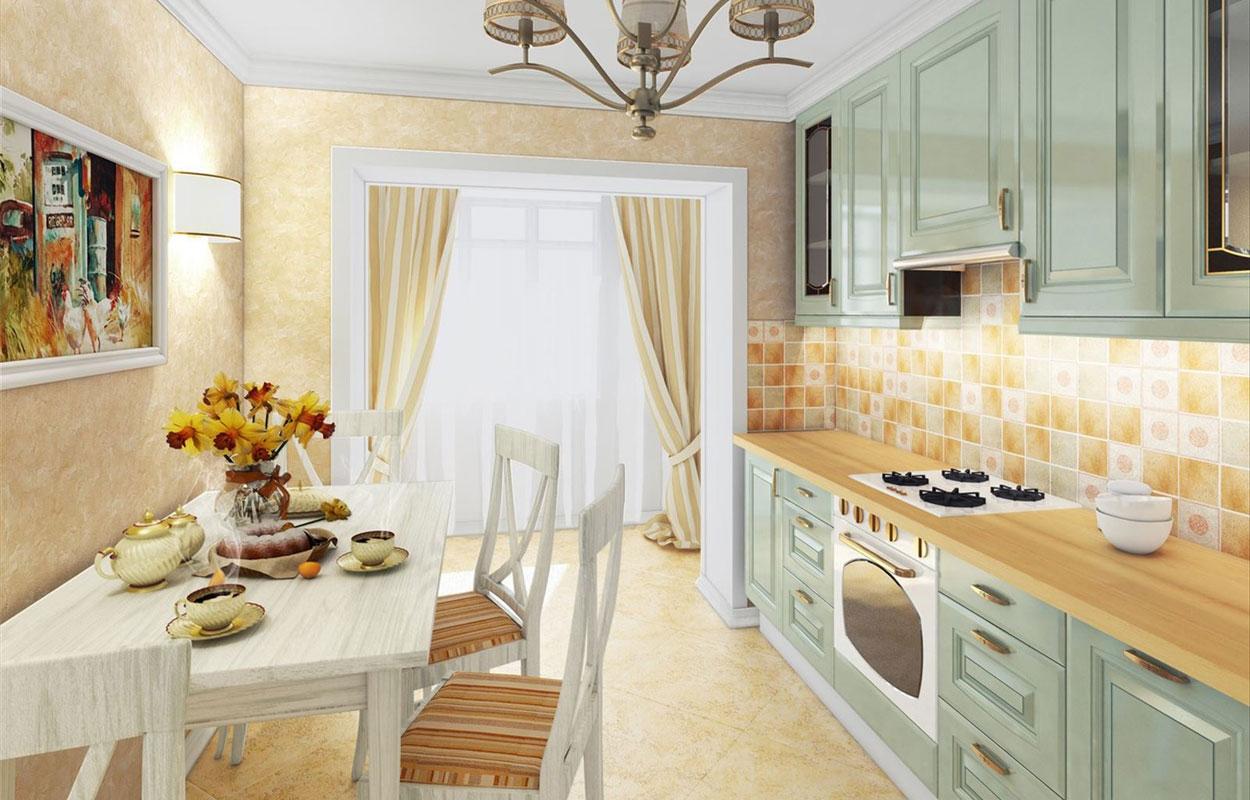 papier peint sur une petite cuisine provence