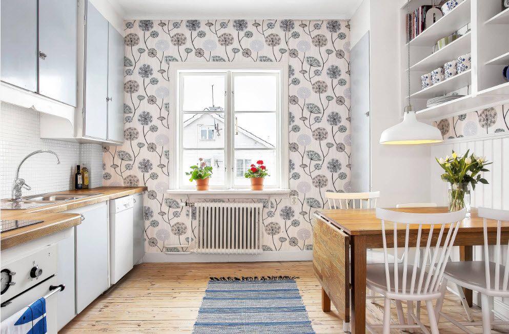papier peint sur une petite cuisine dans une fleur
