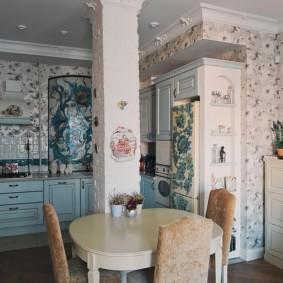 papier peint provence dans la cuisine