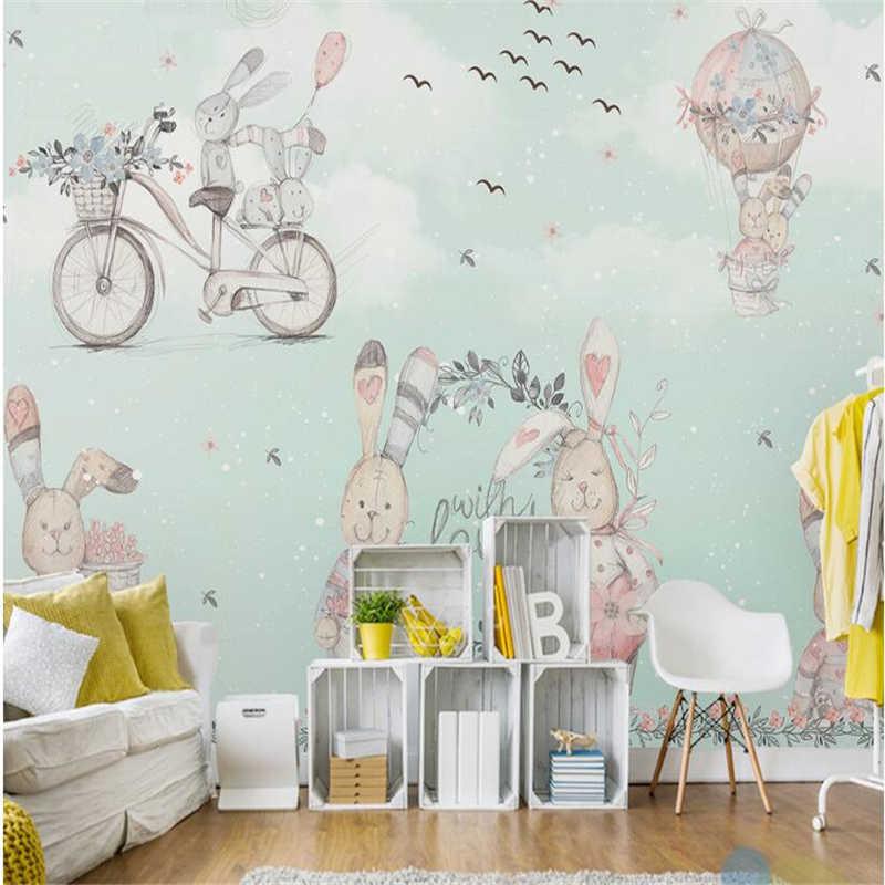 Papier peint enfant avec lapins et ballons