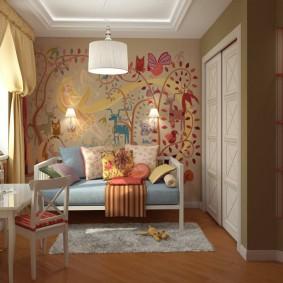 papier peint dans les idées de décoration de chambre d'enfants