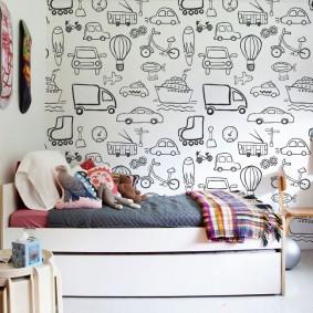 papier peint dans la photo de conception de la chambre des enfants