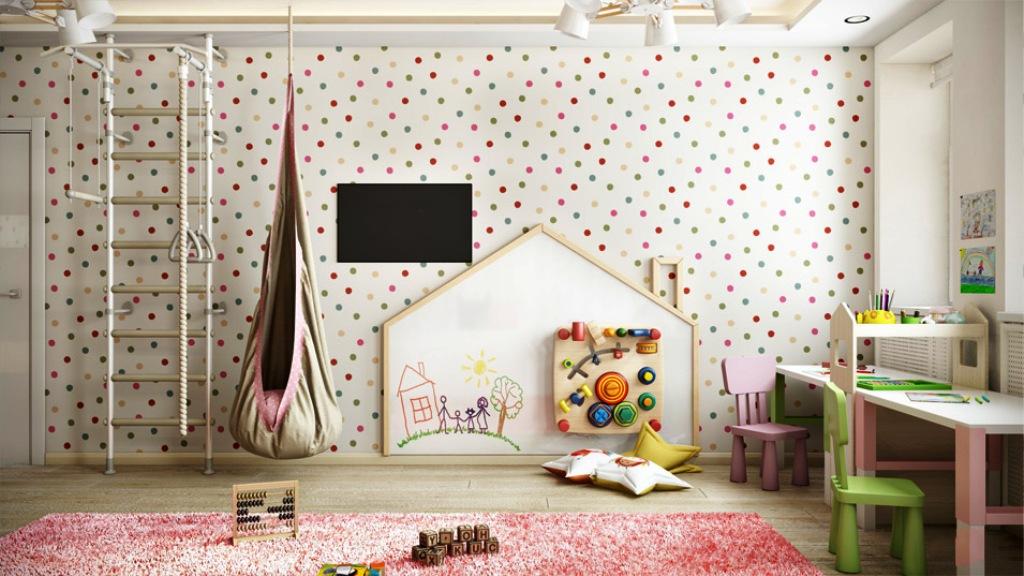papier peint à pois pour chambre d'enfant