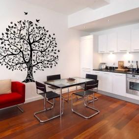 papier peint à l'intérieur de la cuisine photo