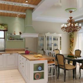 papier peint de style provençal pour des idées de conception de cuisine