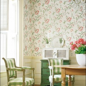 papier peint de style provençal pour la décoration d'idées de cuisine