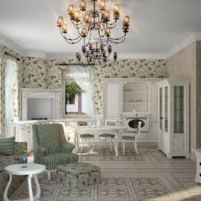 Papier peint de style provençal pour les types de décoration de cuisine