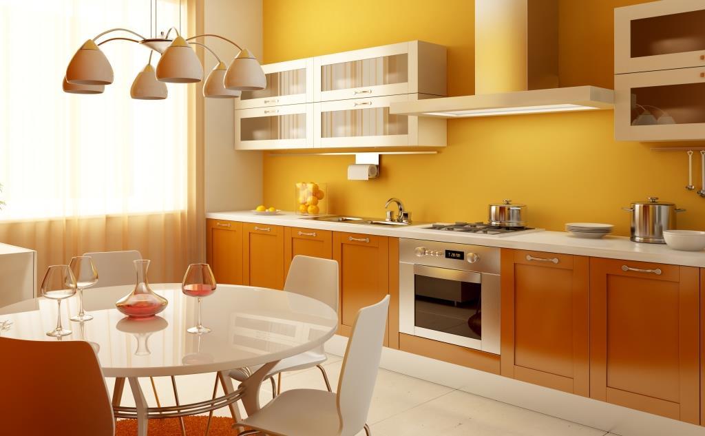 papier peint orange dans la cuisine