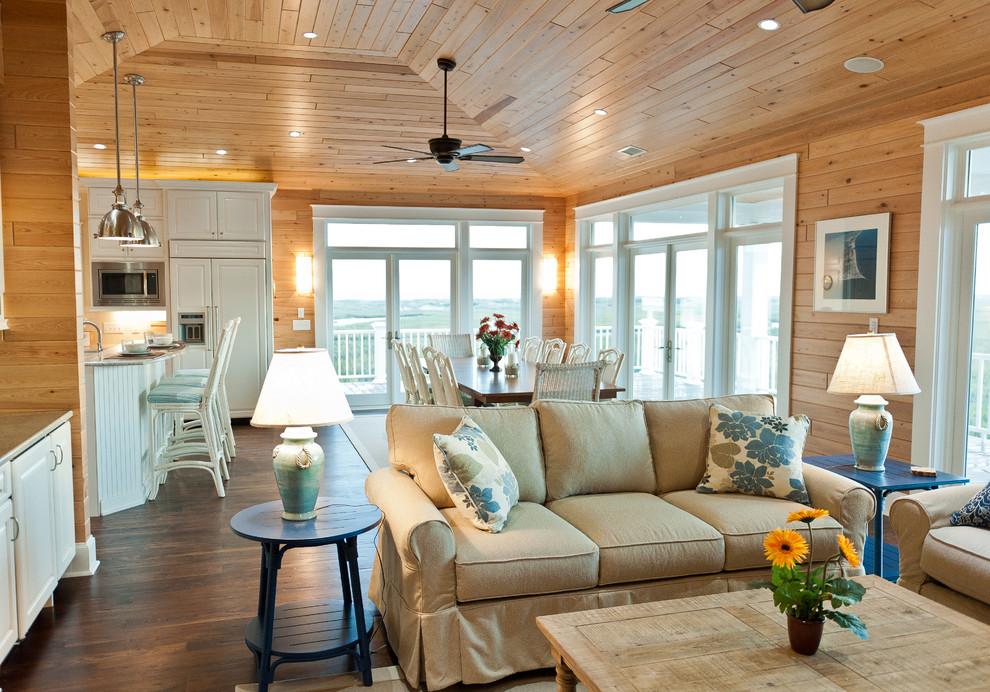 Éclairage de salon avec plafond en bois