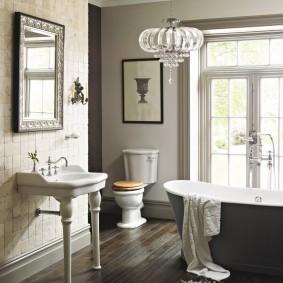 photo de finition de plancher de salle de bain