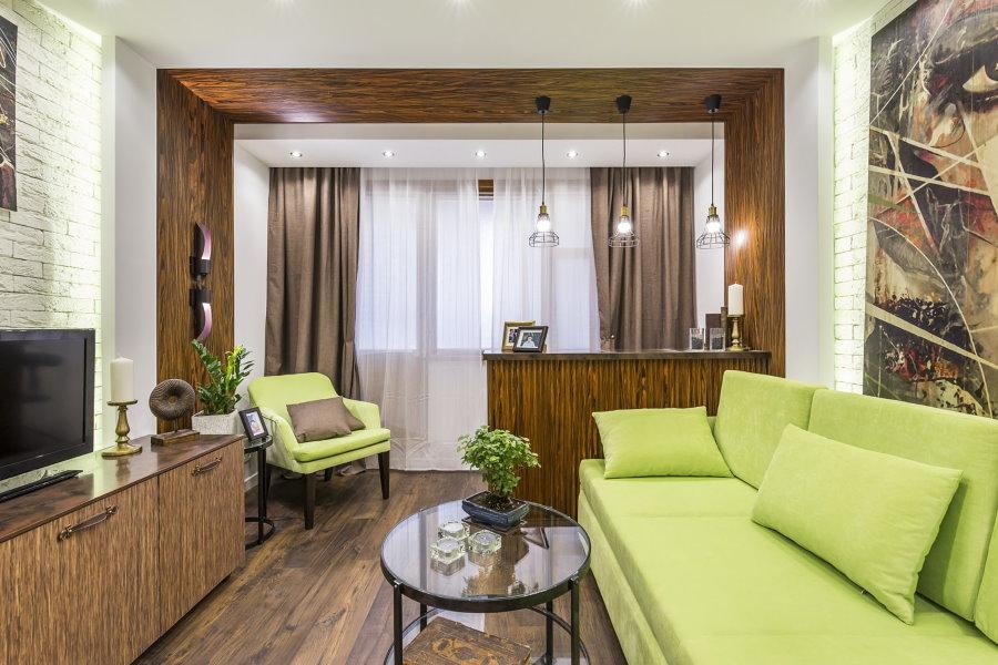 Salon élégant après le réaménagement de l'appartement