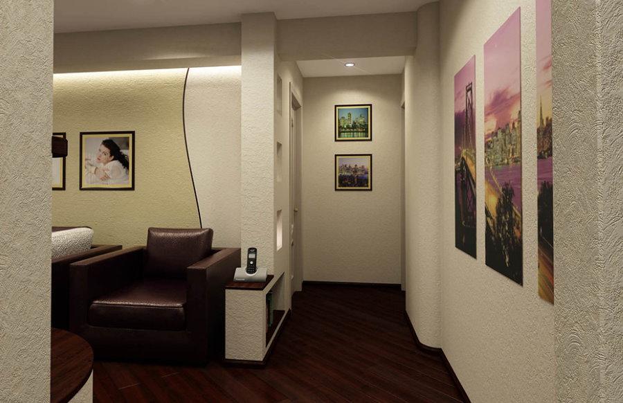 Plancher sombre dans le couloir de l'appartement