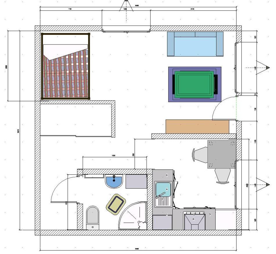 Plan avec le placement de meubles dans une pièce Khrouchtchev