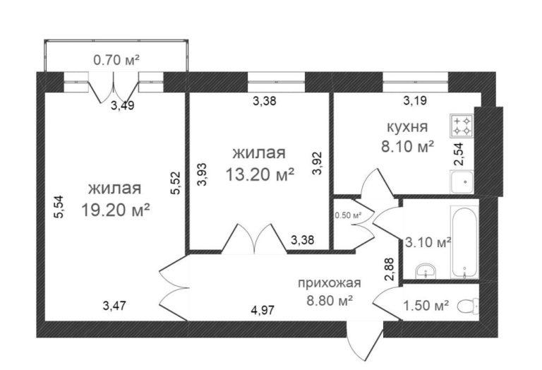 Schéma d'une stalinka de deux pièces dans une maison en briques blanches