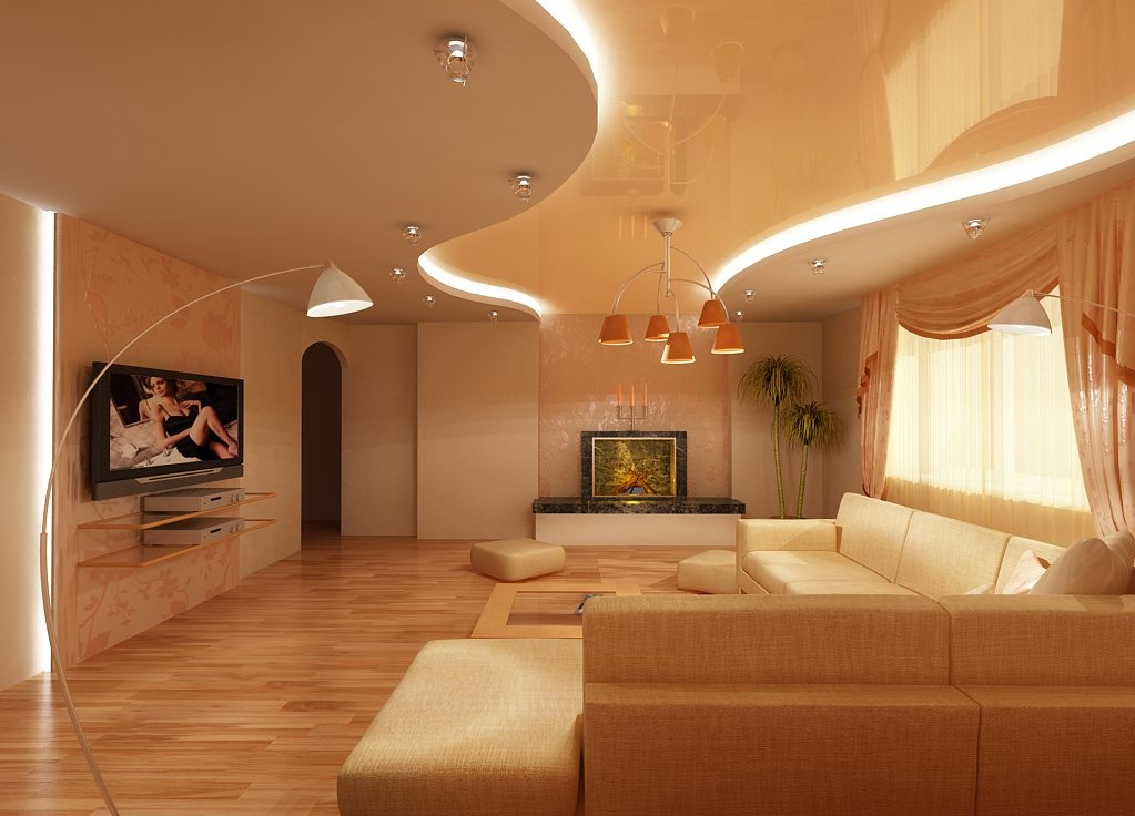Plafond tendu beige avec rétro-éclairage