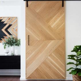 Porte coulissante en bois naturel