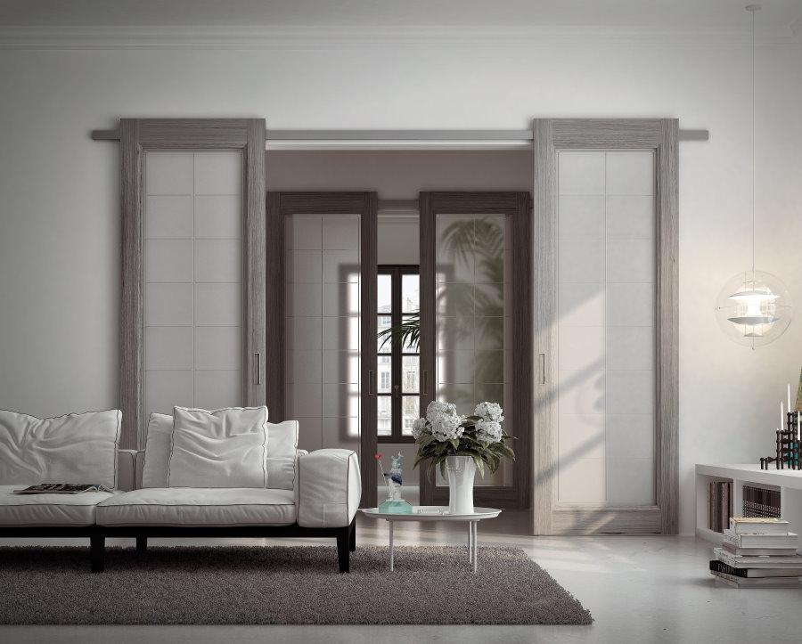 Portes coulissantes à l'intérieur d'un salon spacieux