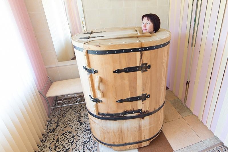 Fût de cèdre Phyto-sauna sur loggia vitrée