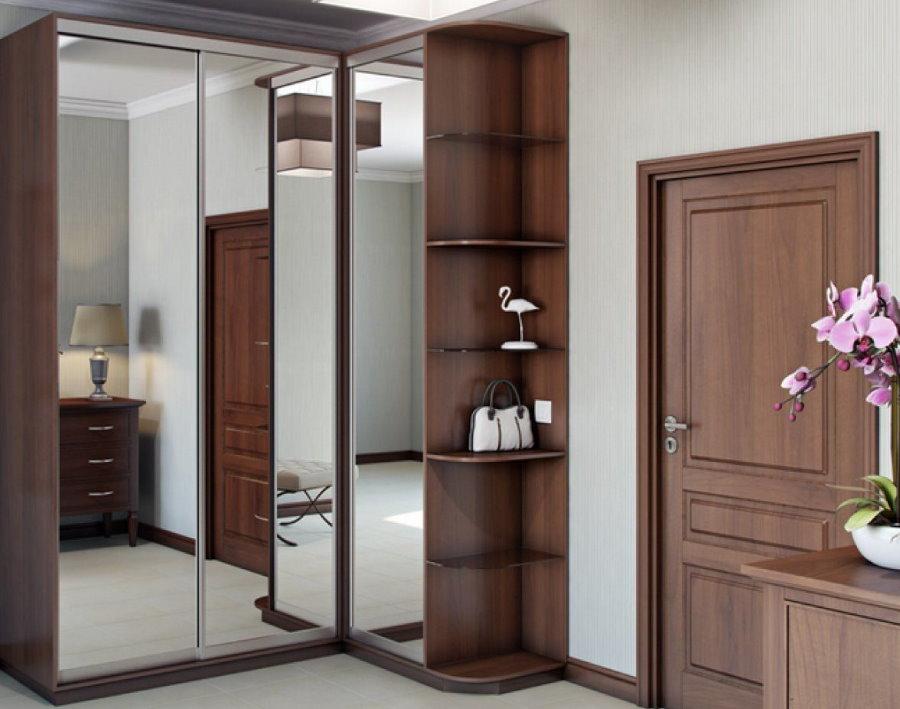 Armoire d'angle avec portes miroir
