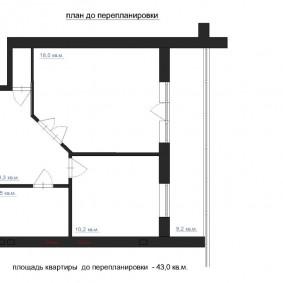 Le plan de l'appartement avant le réaménagement du couloir