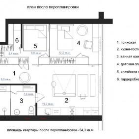 Schéma du couloir après réaménagement dans le studio