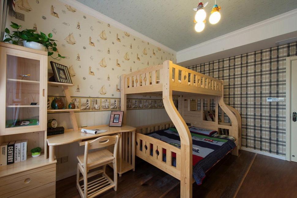 Différents papiers peints dans une chambre avec un lit superposé