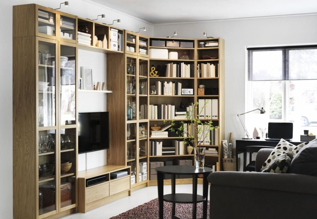 Bibliothèque dans un salon moderne