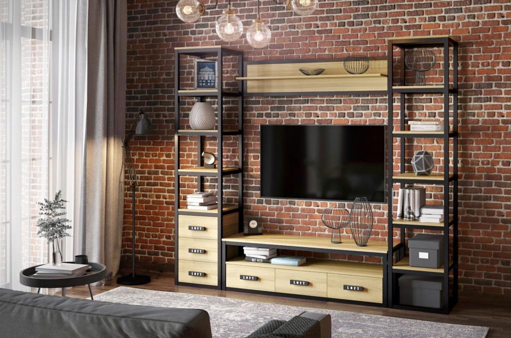 Mur de salon de style loft compact
