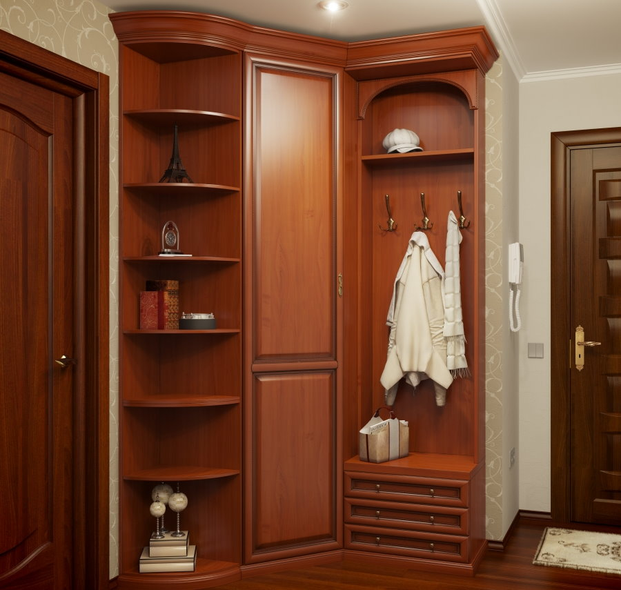 Armoire d'angle avec cintre et étagères latérales