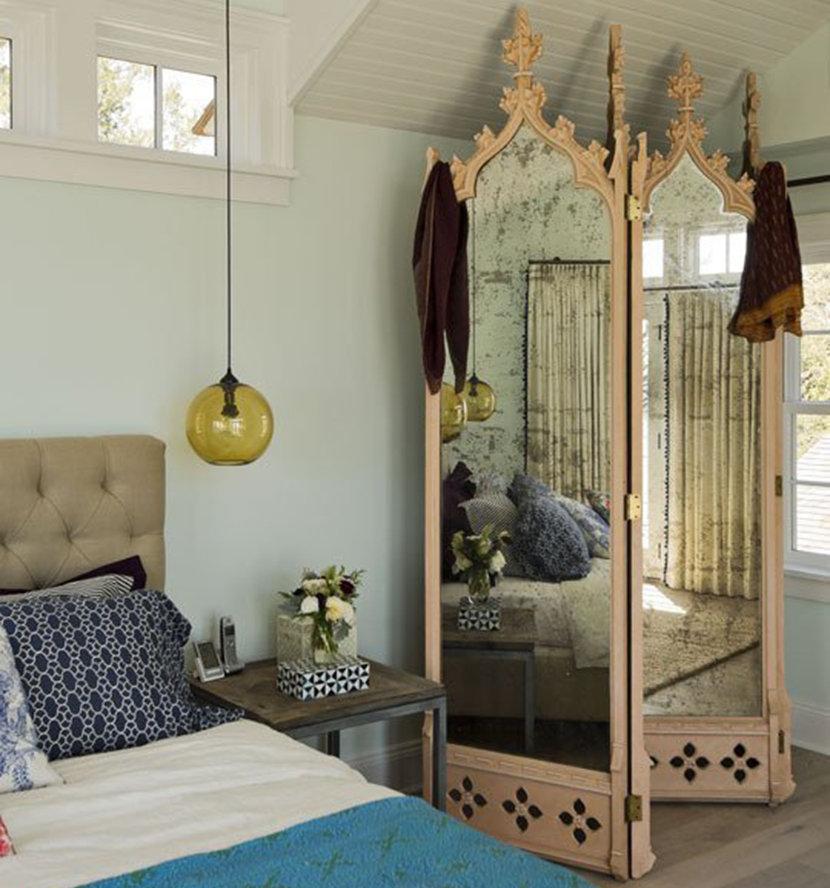 Miroirs pliants avec cadre en bois