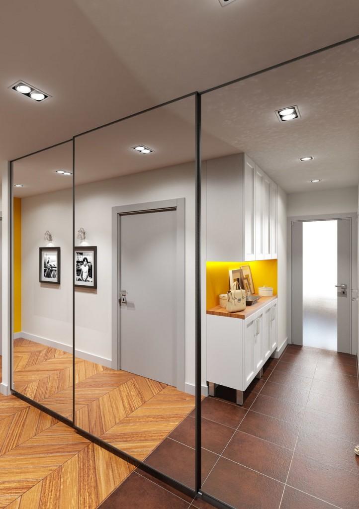 Armoire coulissante avec miroirs dans un couloir étroit