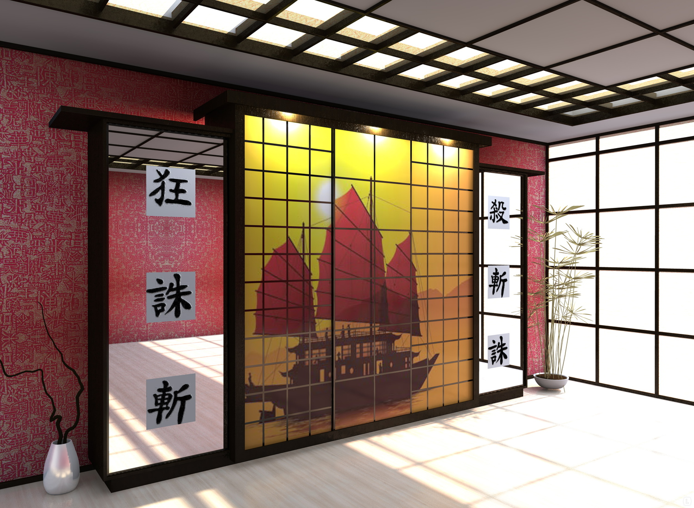 خزانة ملابس على الطراز الآسيوي