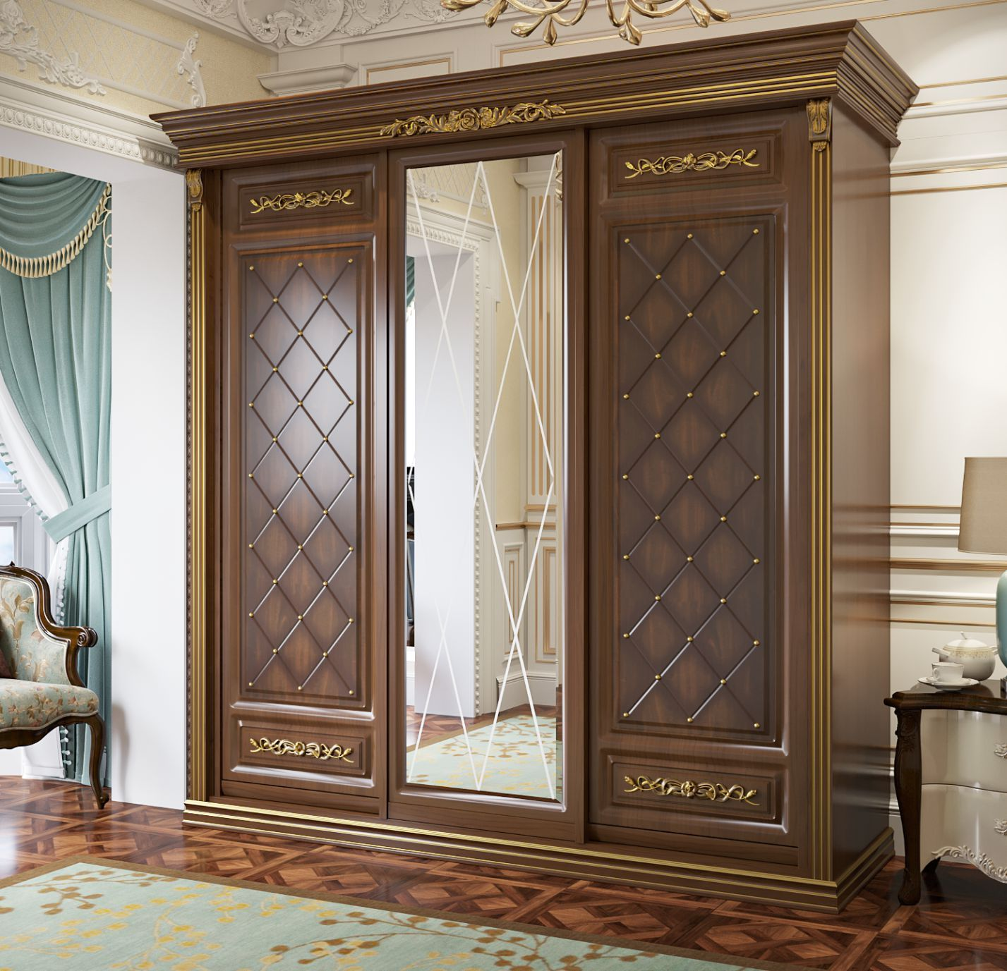 خزانة الملابس في غرفة النوم الكلاسيكية